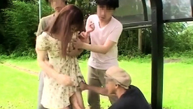 Sweet Asian girls enjoying a gang of cocks beside the absent from